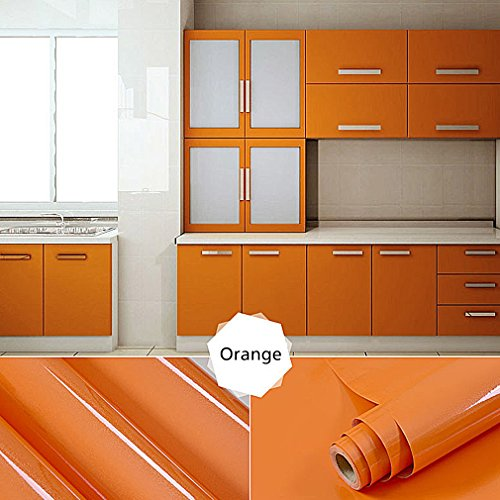 Oxdigi Self-Adhesive Contact Paper for Kitchen Cabinet Shelf Door Table Closet Solid Color 24''x196'' Pearl Orange by Oxdigi