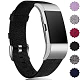 Maledan Compatible with Fitbit Charge 2 Bands for Women Men, Breathable Woven Fabric Replacement Accessory Strap Compatible with Fitbit Charge 2 and Charge 2 SE Fitness Activity Tracker, Large Small