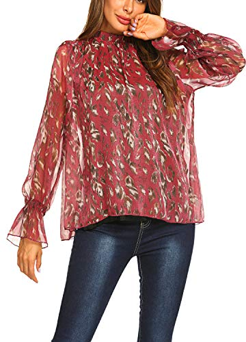 Women's Boho Tops Vintage Collared Chiffon Floral Blouse Loose Shirts Wine Red,S