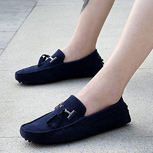 Rismart Mens Snygga Tofs Mocka Loafers Lägenheter Komfort Drivande Båt Skor Navy