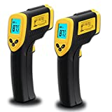 Etekcity 2 Pack Lasergrip 774 Non-contact Digital Laser Infrared Thermometer, Yellow and Black