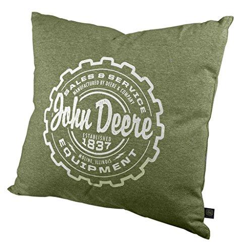 - John Deere Quality Equipment Throw Pillow Gray Green