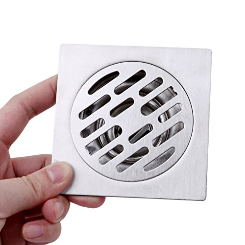 Fit Floor Tiles (Iumer Square Shower Floor Drain Bathroom Tile Insert Floor Drainer Single-funcation Longer Self-sealing Floor Drain)