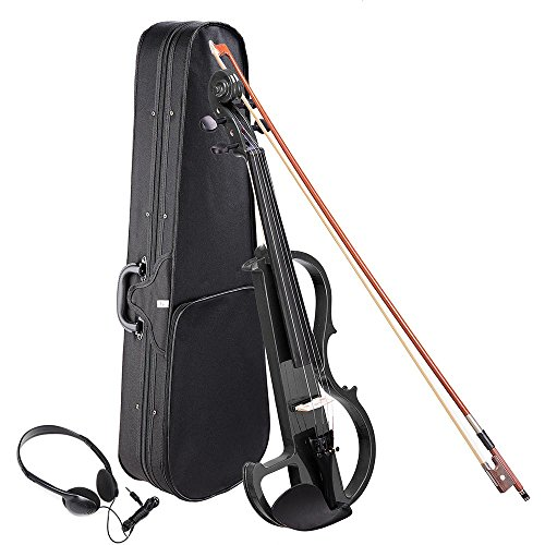 AW 4/4 Electric Violin Full Size Wood Silent Fiddle Musical Instrument Fittings Headphone Black by AW
