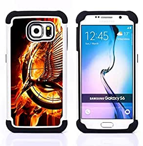 For Samsung Galaxy S6 G9200 - Fire Bird Magic Ring Art Magical Statue Flames /[Hybrid 3 en 1 Impacto resistente a prueba de golpes de protecci????n] de silicona y pl????stico Def/ - Super Marley Shop -