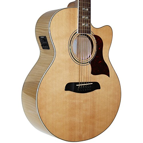 Sawtooth Maple Series 12-String Acoustic-Electric Cutaway Jumbo Guitar with Hard Case and Pick Sampler