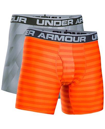 "Under Armour Men`s UA Original Series 6"" Boxerjock, 2-Pack (Team Orange (1306842-800)/Steel/Black, (Mens 800 Series)"