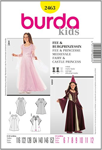 Burda 2463 Princess, Medieval Costume for Girls, Fairy Size 6 to (Girl Medieval Costume Pattern)