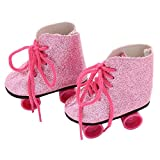 Wffo Glitter Doll Roller Skates for 18 Inch Our Generation American Girl Doll (Pink)
