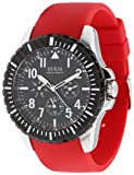 Guess Men's U90036G1 Red Polyurethane Quartz Watch with Black Dial, Watch Central