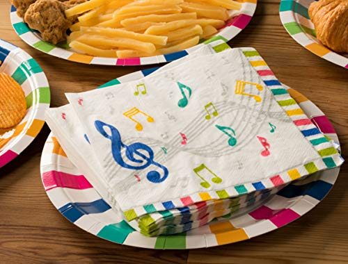 Cocktail Napkins - 150-Pack Luncheon Napkins, Disposable Paper Napkins Music Party Supplies for Kids Birthdays, 2-Ply, Unfolded 13 x 13 Inches, Folded 6.5 x 6.5 Inches by Blue Panda (Image #1)