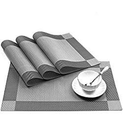 """U'artlines 18""""x12"""" PVC Placemats for Dining Table Stain-resistant Woven Vinyl Kitchen Placemat for Thanks Giving Holiday Vinyl Placemats Set of 4 (Silver-gray)"""