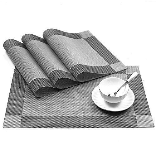 U'artlines 18″x12″ PVC Placemats for Dining Table Stain-resistant Woven Vinyl Kitchen Placemat for Thanks Giving Holiday Vinyl Placemats Set of 4 (Silver-gray)