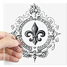"CafePress - Vintage French Fleur De Lis Sticker - Square Bumper Sticker Car Decal, 3""x3"" (Small) or 5""x5"" (Large)"