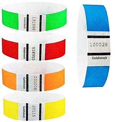 """Goldistock 3/4"""" Tyvek Wristbands Rainbow Variety Packs- Neon Blue, Green, Yellow, Orange, Red"""