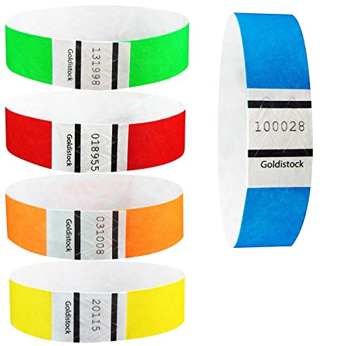 "Goldistock 3/4"" Tyvek Wristbands Rainbow 500 Ct. Variety Pac"