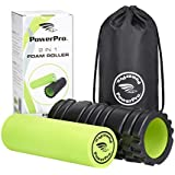 PowerPro 2-in-1 Foam Rollers. Trigger Point & Smooth Foam Rollers for Tight Muscles & Injury Rehab, Chronic Back Conditions, Cellulite, Shin Splints, Lactic Acid & Migraines. 2 x E-Books & Carry Case