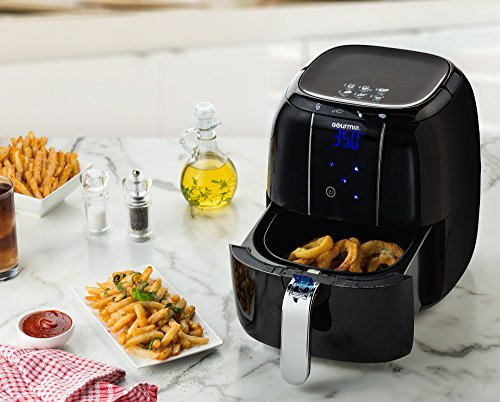 Gourmia GAF520 Electric Air Fryer Includes Fry Basket, Free Recipe Book – 1400W 4.5 Quart – 110/120V