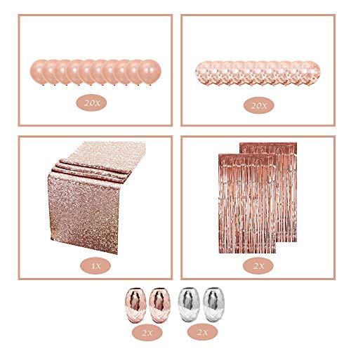 Flightware Rose Gold Party Supplies Pack   Wedding Decorations and Props for Baby Shower, Happy Birthday, Bridal, Engagement Parties   Includes Ribbons, Curtains, Latex Confetti Balloons, Table Runner -