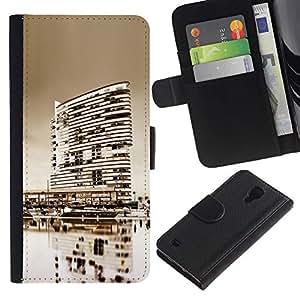 Ihec-Tech / Flip PU Cuero Cover Case para Samsung Galaxy S4 IV I9500 - Black & White City