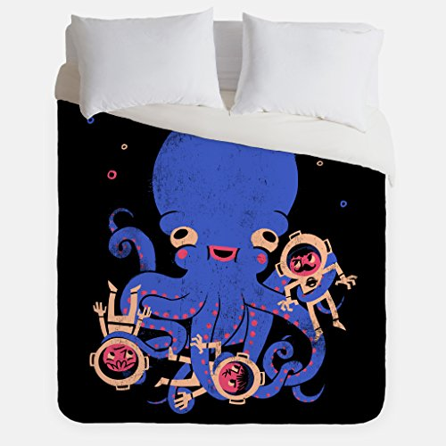 Aquatic Affection Octopus Duvet Cover / Nautical Scuba Diver Bedroom Decor / Made in USA / Great Bedroom Artwork by Fuzzy Ink