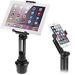 Cup Mount Holder Ikross 2-in-1 Tablet & Smartphone Adjustable Swing Cradle With Extended Cup Car Mount Holder Kit For Apple Ipad Iphone Samsung Asus Tablet Smartphone & Uber Lyft Driver - Black