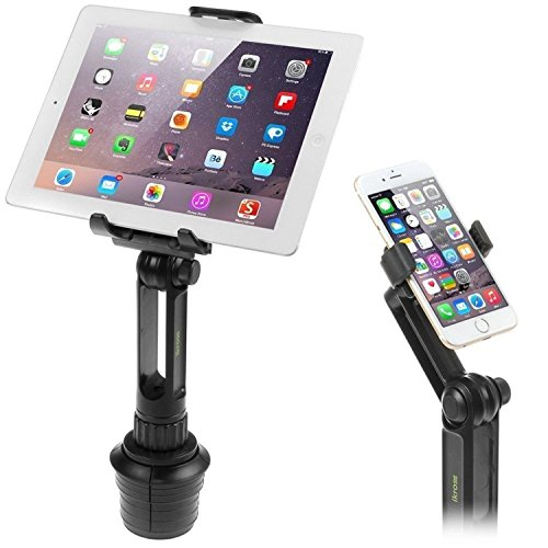 Cup Mount Holder iKross 2-in-1 Tablet and Smartphone Adjustable Swing Cradle with Extended Cup Car Mount Holder Kit for Apple iPad iPhone Samsung Asus Tablet Smartphone and Uber Lyft Driver - Black ()