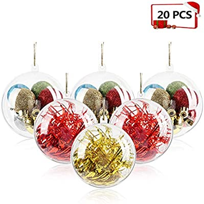 Mbuynow 20 Pack 80mm Clear Ornaments Balls Diy Plastic Fillable Christmas Decorations Tree Balls Baubles Craft Transparent Ball Gifts For Wedding