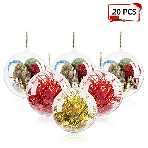 Mbuynow 20 Pack 80mm Clear Ornaments Balls, DIY Plastic Fillable Christmas Decorations Tree Balls Baubles Craft Transparent Ball Gifts for Wedding Party -