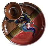 Larrabee Ceramics Chip and Dip Platter, Red/Multi
