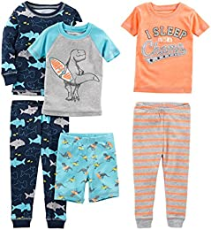 Baby  Little Kid  and Toddler Boys 6-Piece Snug Fit Cotton Pajama Set