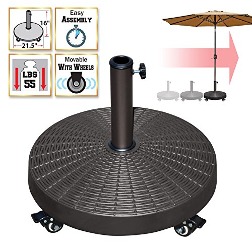 BenefitUSA Resin Patio Umbrella Base Weight Stand Deck Parasol w Wheels ONLY BASE Parasol Stand