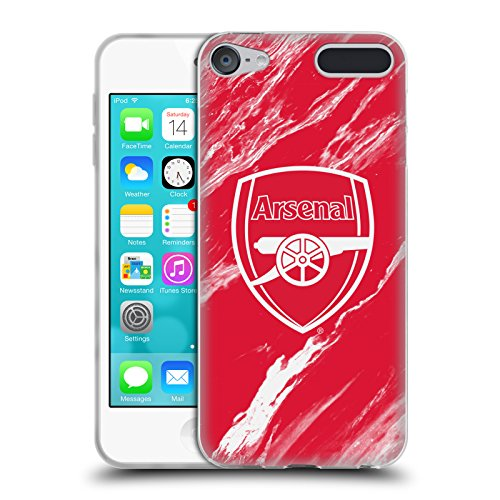 Official Arsenal FC Red Marble 2017/18 Crest Patterns Soft Gel Case for Apple iPod Touch 6G 6th Gen