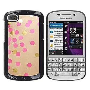 TopCaseStore / la caja del caucho duro de la cubierta de protección de la piel - Diy Paper Gold Pink Brown - BlackBerry Q10