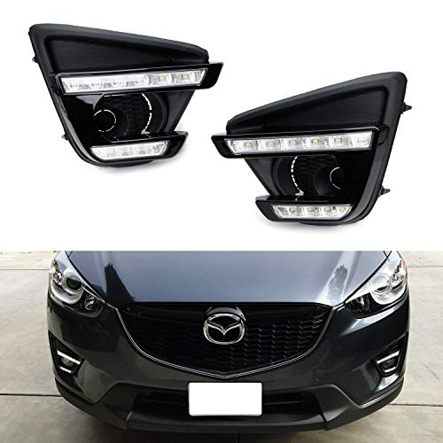 iJDMTOY Xenon White LED Daytime Running Light/Fog Lamps For 13-16 Mazda CX-5, Direct Double-Row Facelift Design Powered by 10W High Power LED Lights