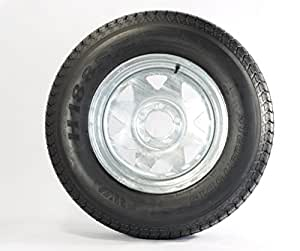 "Trailer Tire + Rim ST205/75D14 2057514 F78-14 14"" 5 Lug Wheel Spoke Galvanized"
