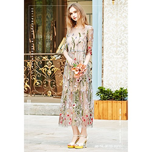 6985a3e2cb97 AROMEE Women's Embroidered Floral Spliced Tulle Maxi Lace Mesh Hollow Out  Cocktail Dresses well-wreapped