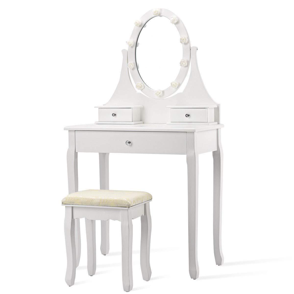Dayanaprincess 3 Drawers Modern Luxury Nice Lighted Mirror Vanity Makeup Dressing Table Stool Set Bedroom Dressing Room Furniture Storage Organizer Durable Chic Elegant