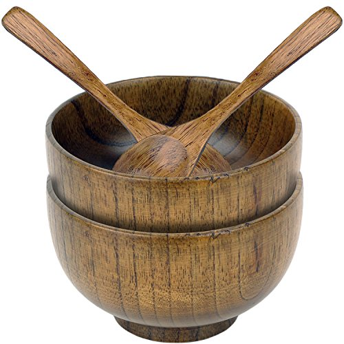 4 Piece Wooden Bowl and Spoon Set for Rice Miso Soup and More by bogo Brands