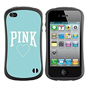 Fuerte Suave TPU GEL Caso Carcasa de Protección Funda para Apple Iphone 4 / 4S / Business Style pink baby blue heart text love clean