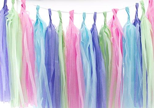 Easter Garland, Pastel Wedding Tassels (Set of 20) - Easter Party Supplies, Pink, Blue, Mint Green & Lavender Purple Easter Streamer Decorations, Pastel Wedding Backdrops Paper Tissue Garland]()