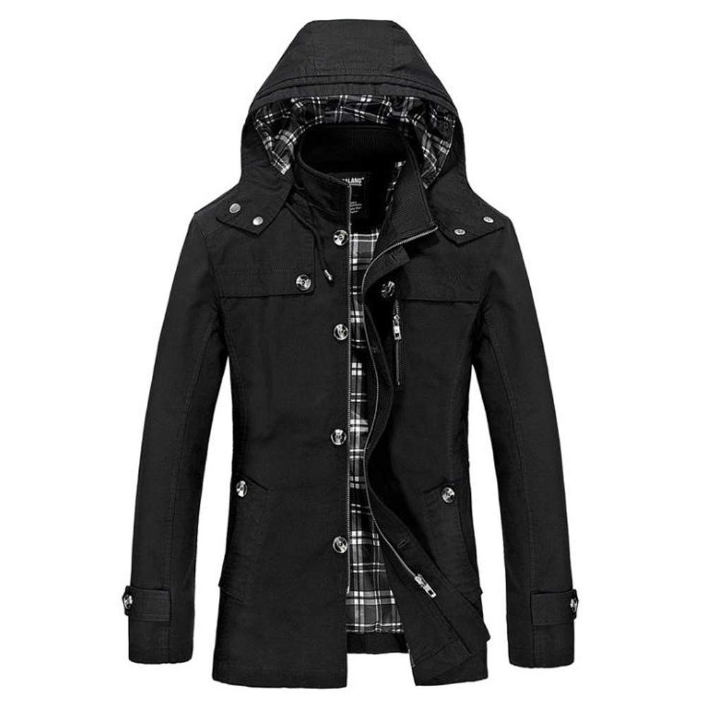 Men's Winter Slim Long Trench Zipper Buttons Coat Jacket with Hood Thick Coat G-Real by G-real Men Outfits