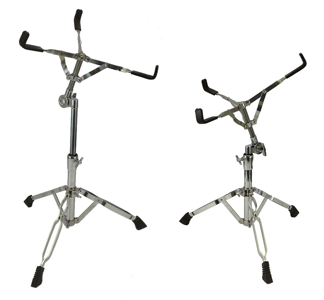 Set of 2 Snare Drum Stands Double Braced Chrome Percussion Drummer Heavy Duty Zenison 16050