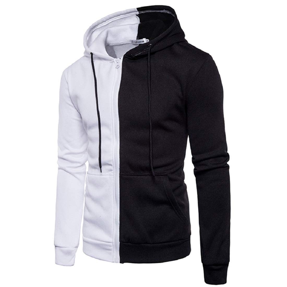 Mens Hoodies Clearance Autumn Winter Splicing Pullover Sweatshirt Tracksuits Casual Cozy Jacket Coat Outwear Tops