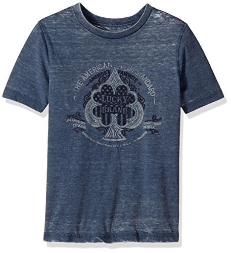 Lucky Brand Little Boys' Short Sleeve Clover Graphic Tee Shirt, Spade Dark Denim, 5