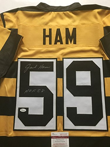 dc6e1324d ... italy autographed signed jack hamhof 88 pittsburgh bumble bee football  jersey jsa coa at amazons sports