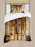 Ambesonne Rustic Duvet Cover Set Twin Size, Damaged Shabby House with Boarded up and Rusty Doors and Moldy Windows Photography, Decorative 2 Piece Bedding Set with 1 Pillow Sham, Multicolor
