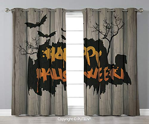 Grommet Blackout Window Curtains Drapes [ Halloween Decorations,Happy Graffiti Style Lettering on Rustic Wooden Fence Scary Evil Artwork,Multi ] for Living Room Bedroom Dorm Room Classroom Kitchen Caf