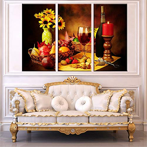 XDXART 3 Panels Home Decor Pictures Printed Painting on Canvas, Decor Art - Red Wine Sunflowers and Fruits Wall Art Oil Paintings Printed Pictures (Without Wooden Frames) (20x40inchx3pcs)