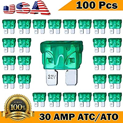 Kodobo 100 Pack Auto Fuses 30 AMP ATC/ATO Standard Regular Fuse Blade 30A Car Truck Boat Marine RV - 100Pack: Automotive